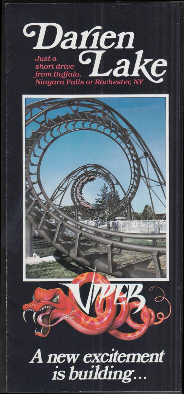 Darien Lake Amusement Park Viper Rollercoaster folder NY 1980s