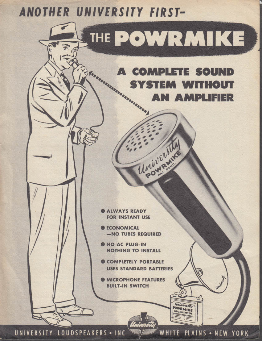University Loudspeakers POWRMIKE microphone sales folder 1950s