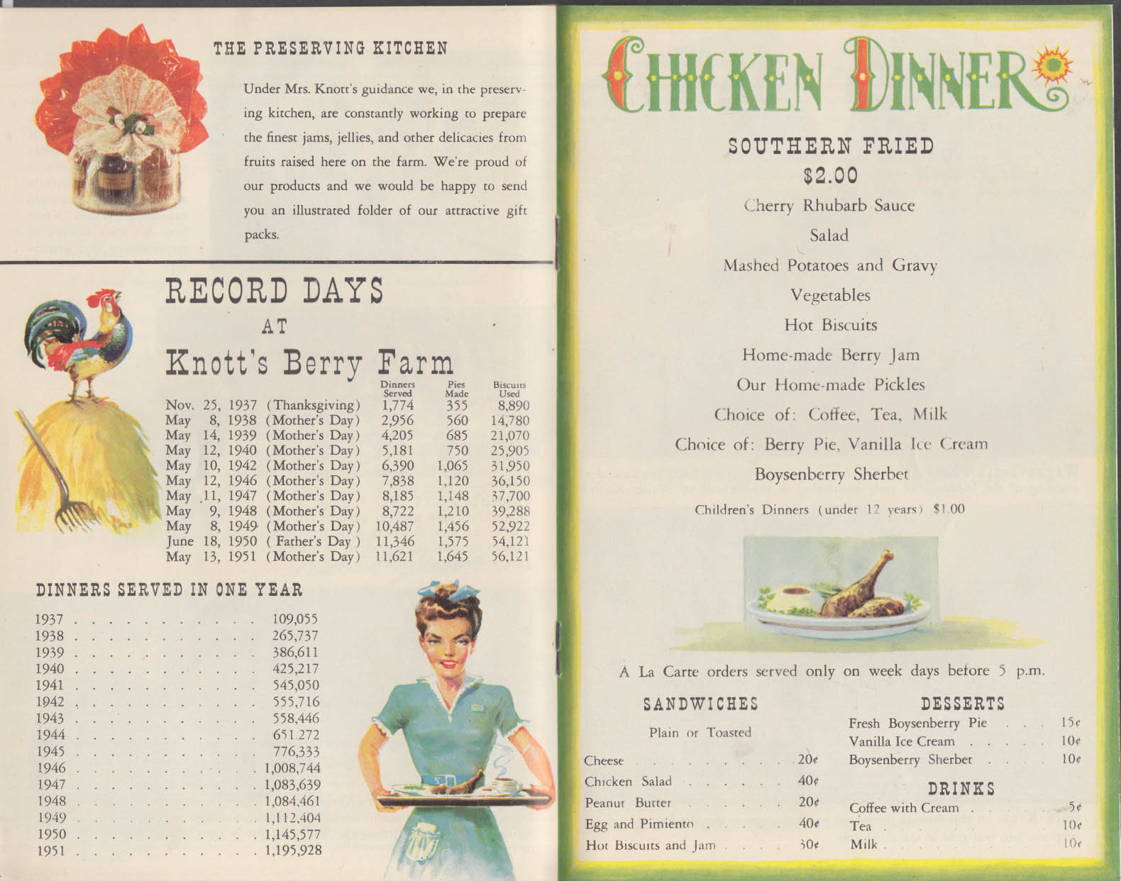 Knott's Berry Farm Buena Park CA Chicken Dinner Menu 1952