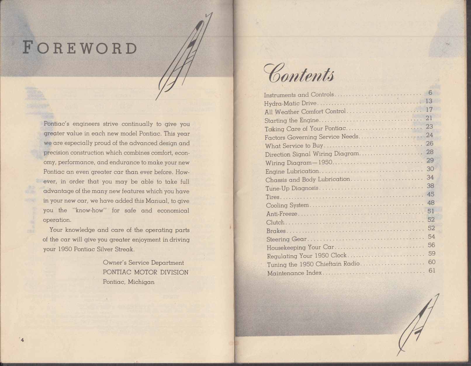 1950 Pontiac Chieftain Streamliner Owner's Manual