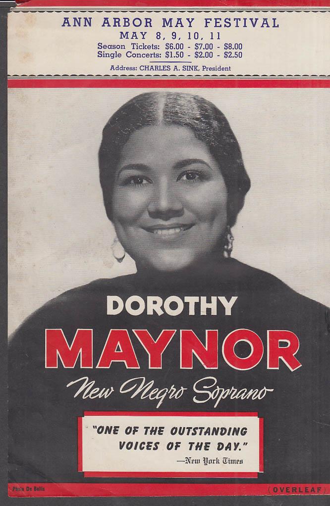 Dorothy Maynor New Negro Soprano flyer Ann Arbor May Festival 1940s