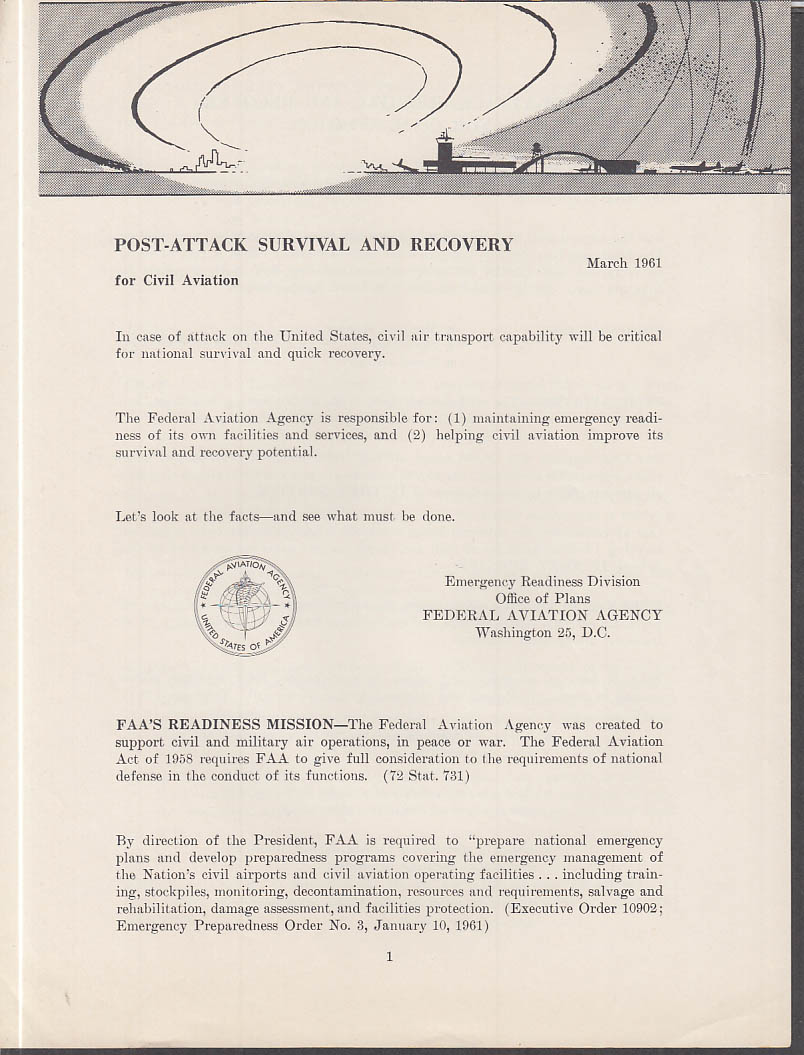 Federal Aviation Agency Post-Nuclear-Attack Survival & Recovery folder 1961