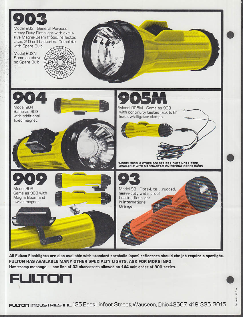 Fulton Flashlights catalog sheets 1978 Wauseon OH Magna Beam HD Flashlights
