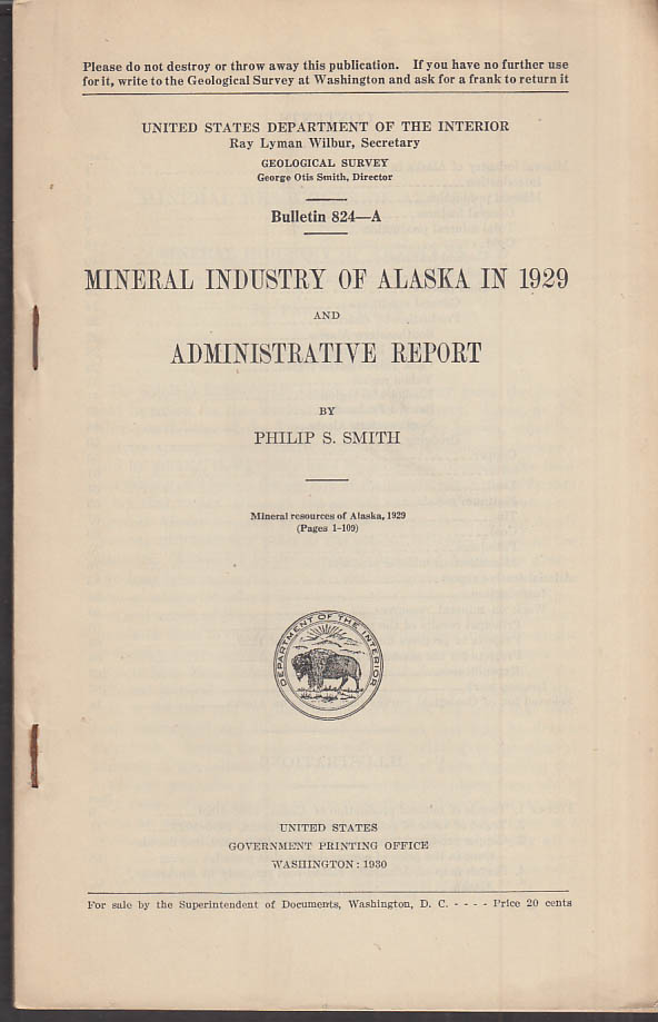 Mineral Industry of Alaska Geological & Admin Report Bulletin 1929