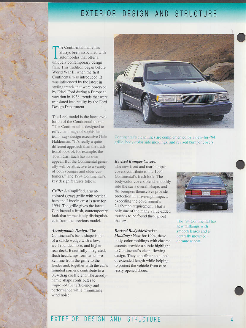 1994 Lincoln Continental Sales & Marketing Guide for Salesmen