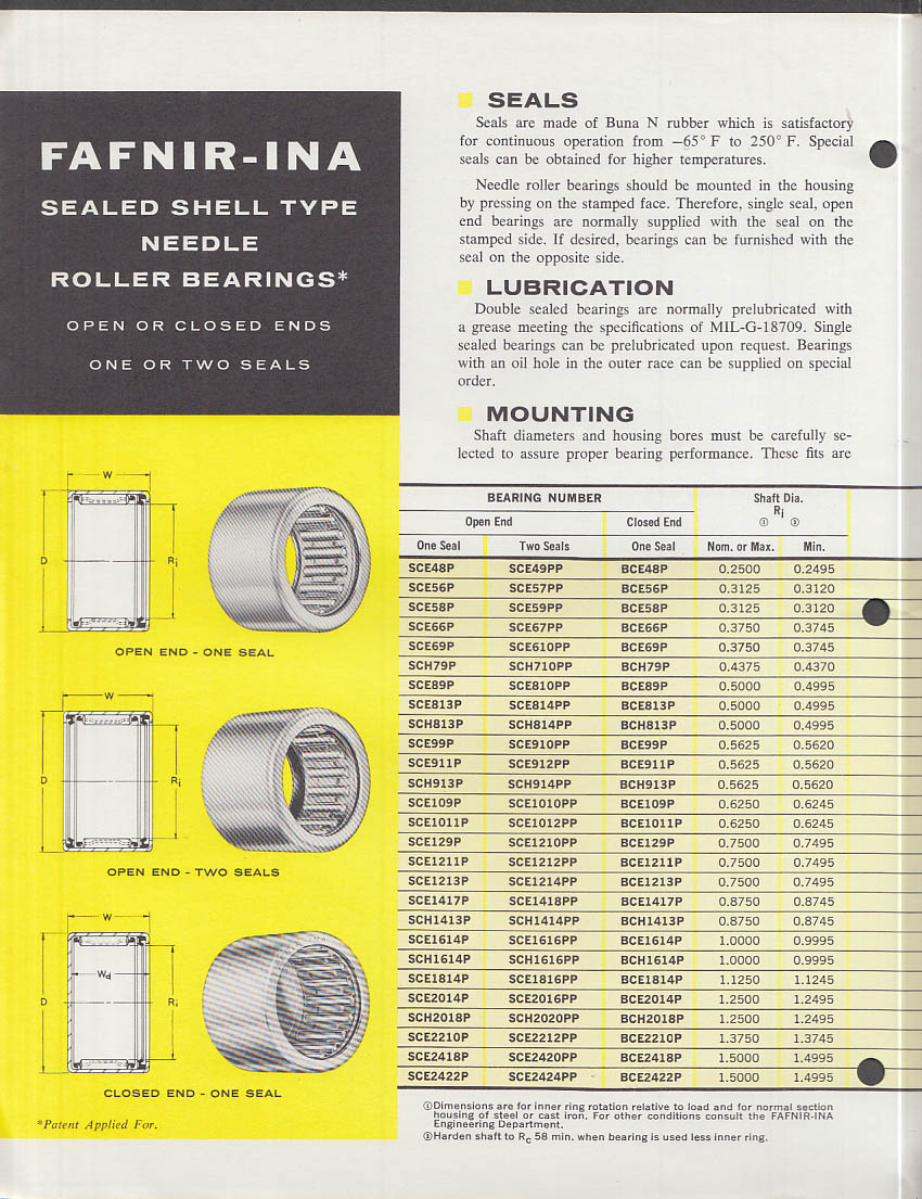 Fafnir-INA Needle Sealed Needle Roller Bearing catalog New Britain CT 1960s