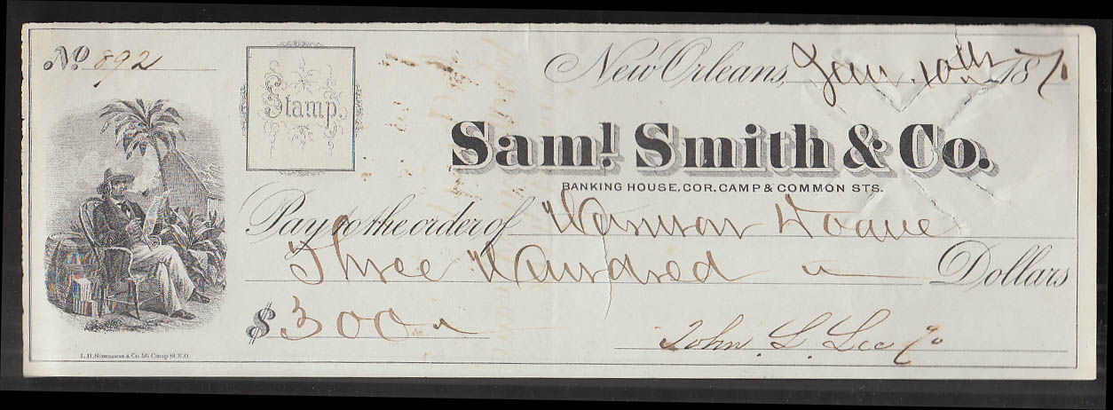 Sam'l Smith & Co Banking House $300 cancelled cachet check New Orleans 1871