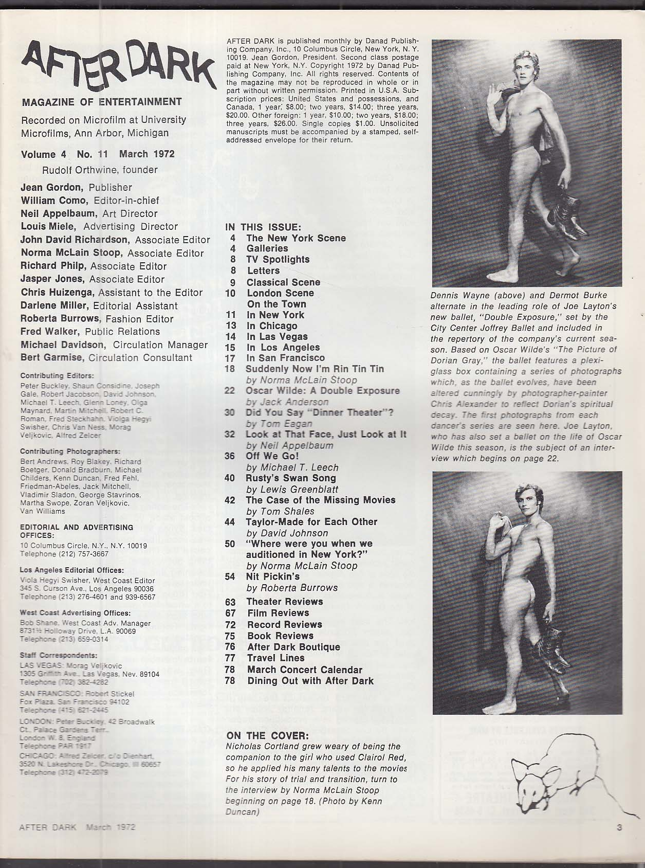 AFTER DARK Nicky Cortland Joffrey Ballet James Brolin Renee Taylor 3 1972