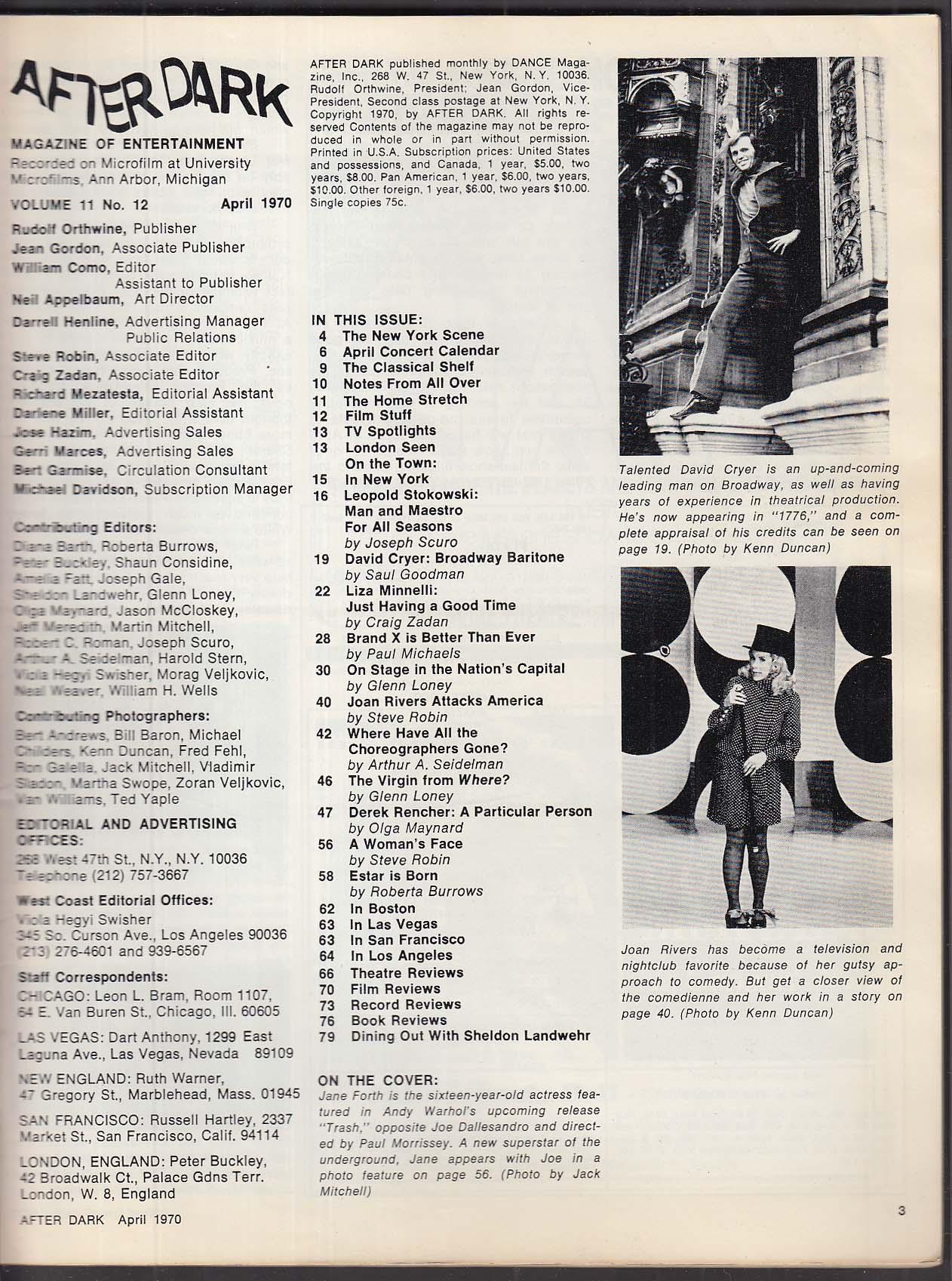 AFTER DARK Jane Forth Warhol Liza Minnelli Joan Rivers Leopold Stokowski 4 1970