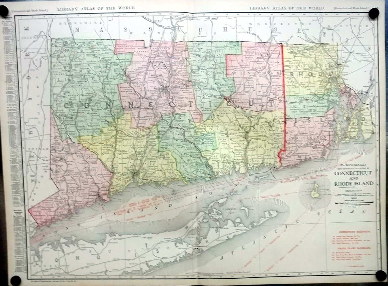 Connecticut & Rhode Island 1912 Rand McNally color Map with Railroads