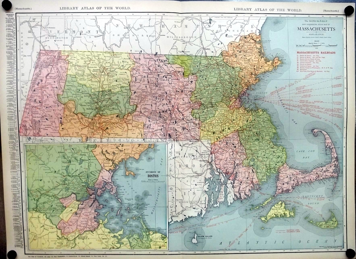 Commonwealth of Massachusetts 1912 Rand McNally color Map with Railroads