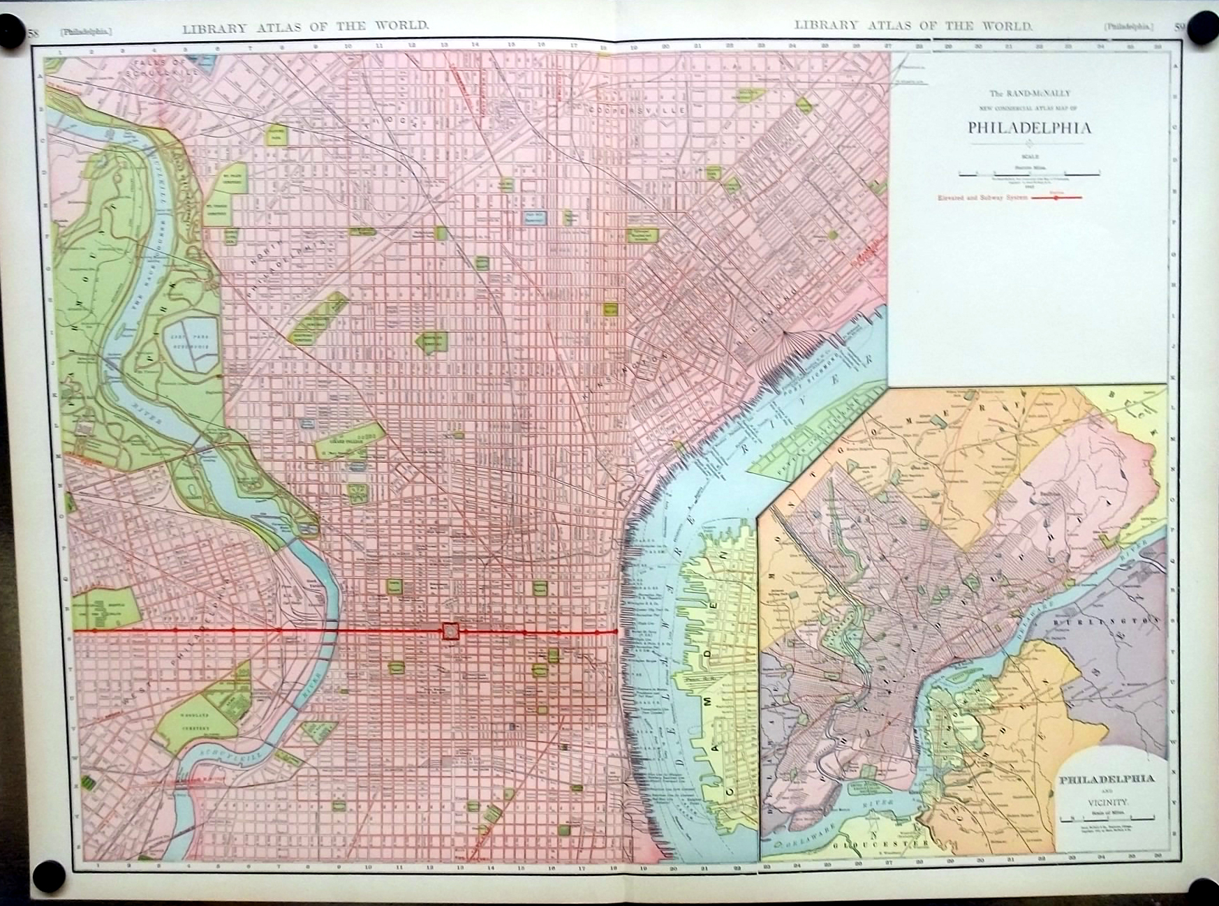 City of Philadelphia Pennsylvania 1912 Rand McNally color Map with Railroads