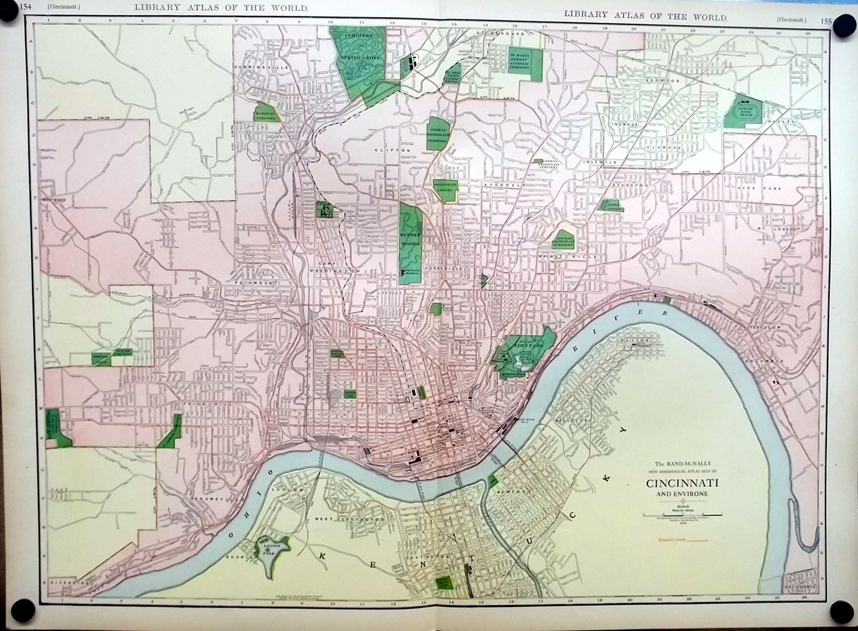 Cincinnati Ohio & Environs 1912 Rand McNally color Map with Railroads