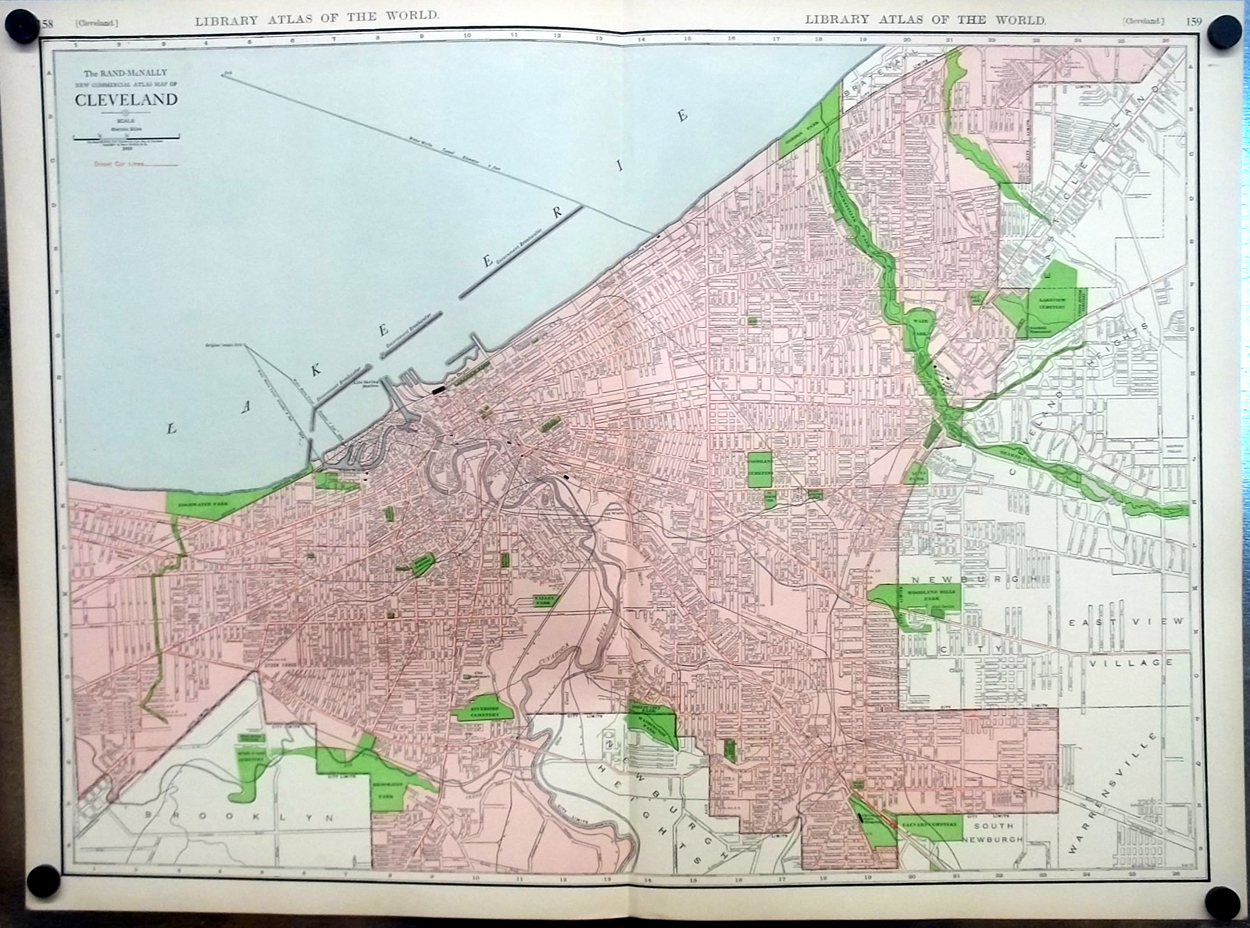 City of Cleveland Ohio 1912 Rand McNally color Map with Railroads