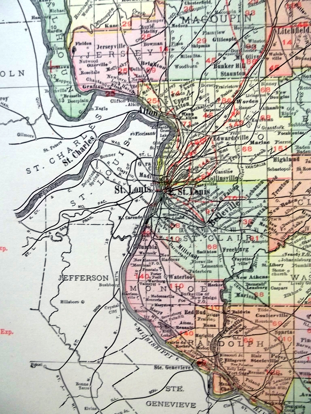 State of Missouri 1912 Rand McNally color Map w/ Railroads