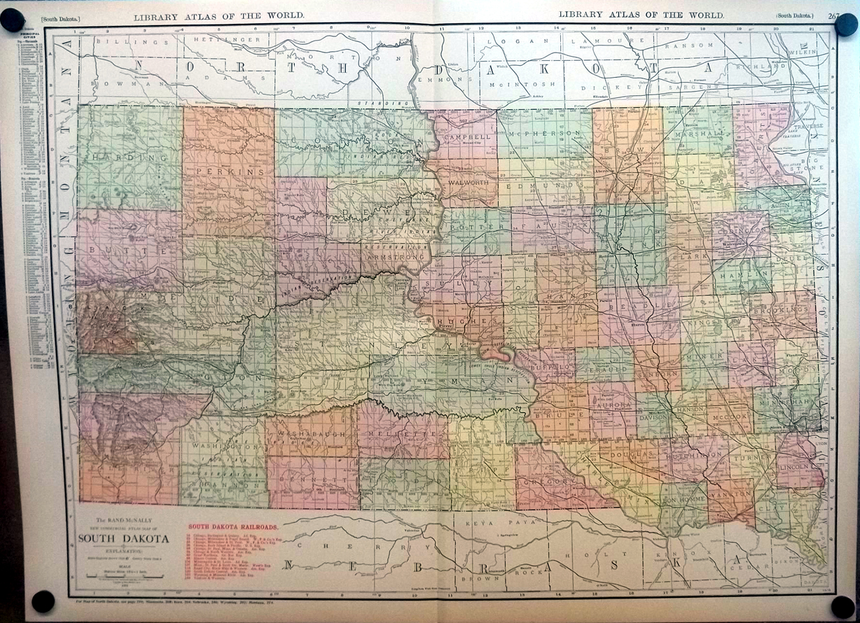 State of South Dakota 1912 Rand McNally color Map with Railroads & Reservations
