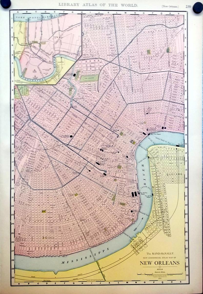 City of New Orleans LA & West Texas 1912 Rand McNally color Map with Railroads