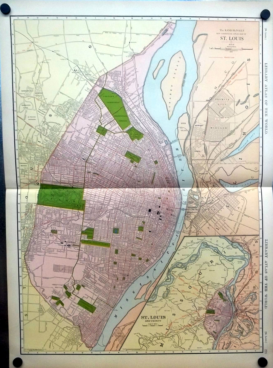 City of St Louis Missouri 1912 Rand McNally color Map with Railroads