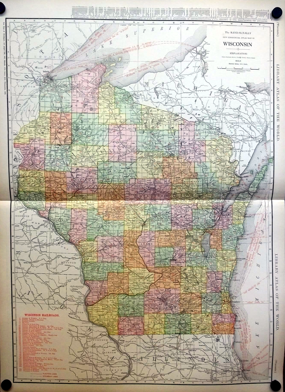 Milwaukee State Map.State Of Wisconsin City Of Milwaukee 1912 Rand Mcnally Color Map W