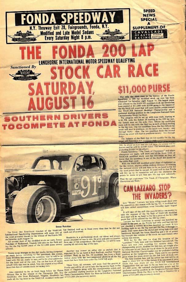Fonda Speedway NY Fonda 200 Stock Car Race Langhorne Qualifier tabloid 1969