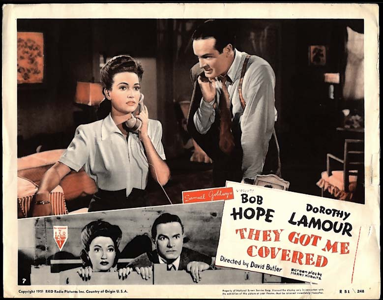 They Got Me Covered lobby card Bob Hope Dorothy Lamour 1951 re-release