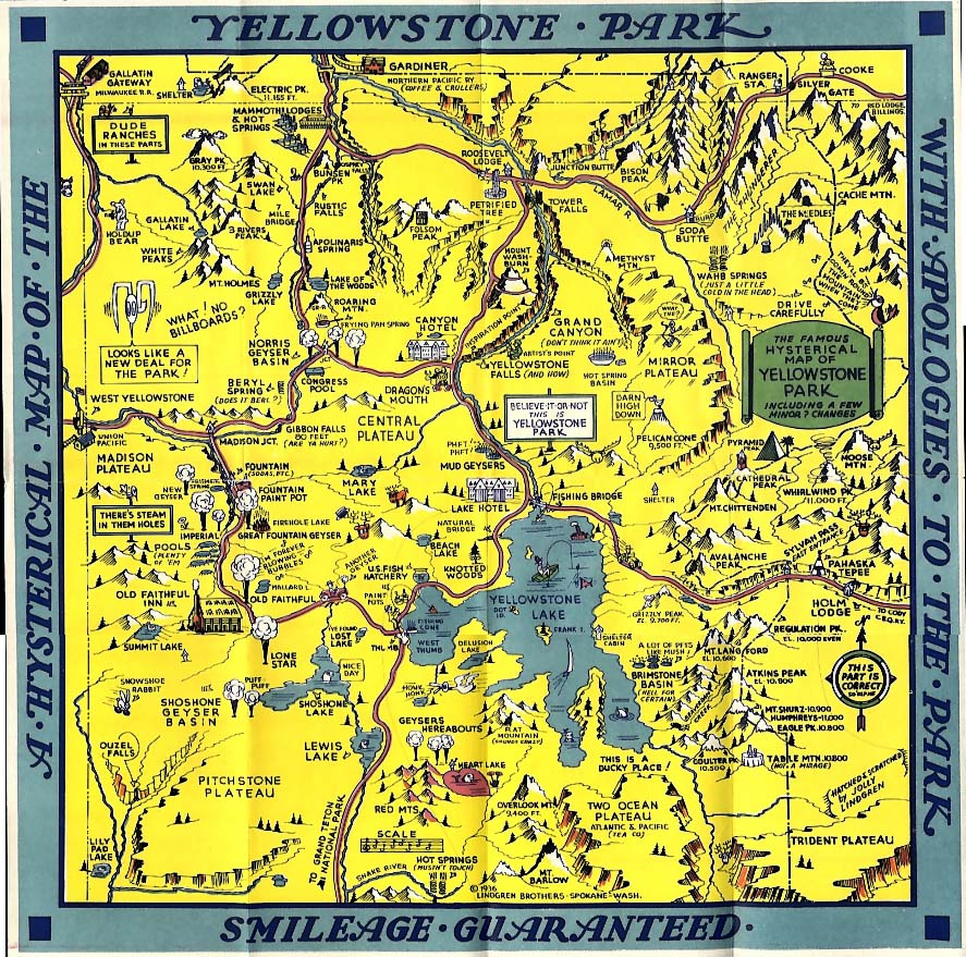 Hysterical Map of Yellowstone Park Smileage Guaranteed 1936
