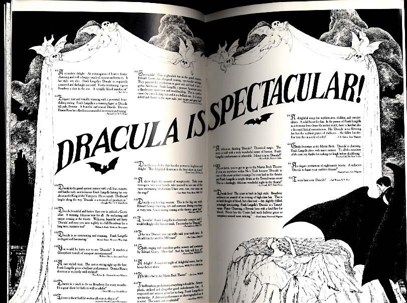 Frank Langella in Dracula theatre program 1977 Edward Gorey