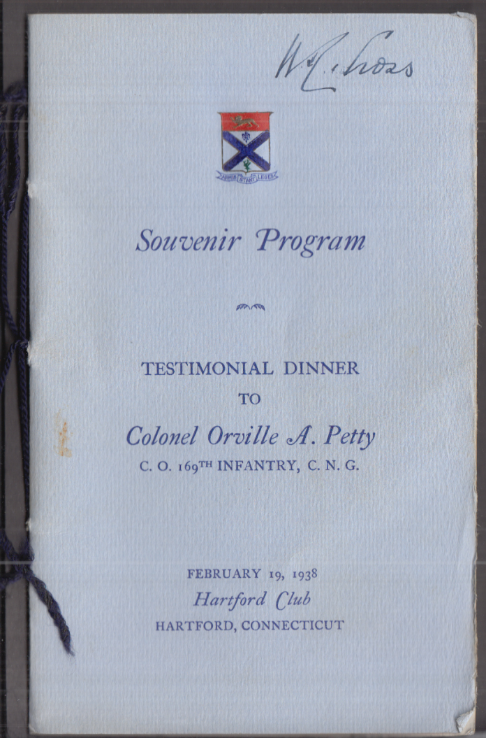 SIGNED Wilbur Cross Testimonial Dinner Col Orville A Petty 169th INF CNG 1938