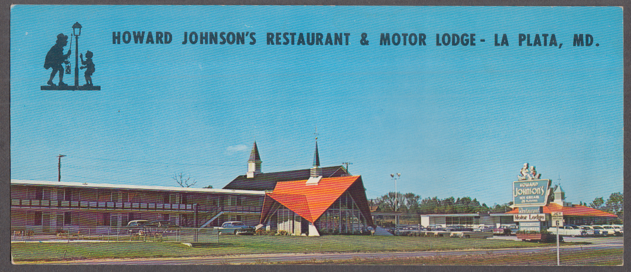 Howard Johnson Restaurant & Motor Lodge La Plata MD long postcard 1950s