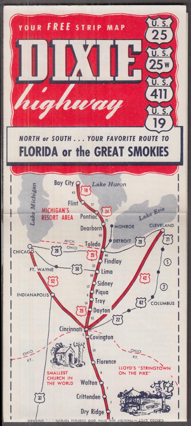 Dixie Highway US 25 25W 411 19 Bay City MI - Miami FL ca 1950s