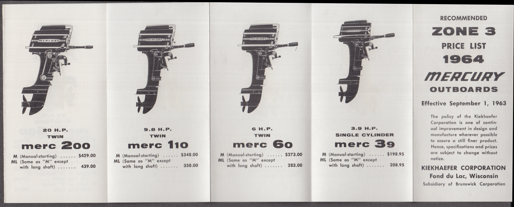 Kiekhaefer Mercury Outboard Motor Silver Anniversary Fleet price list 1964