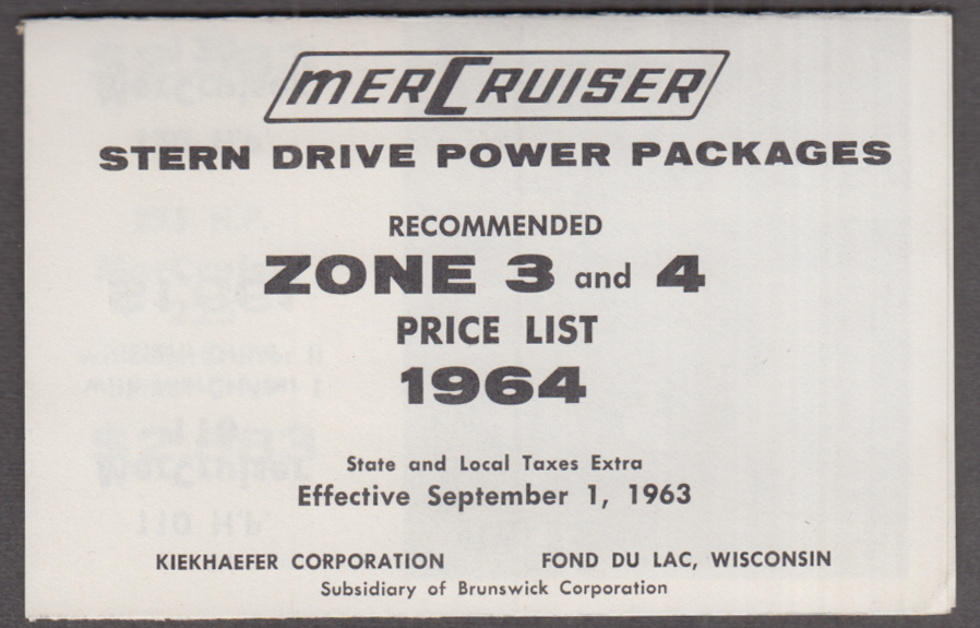 MerCruiser Stern Drive Boat Power Packages price list 1964