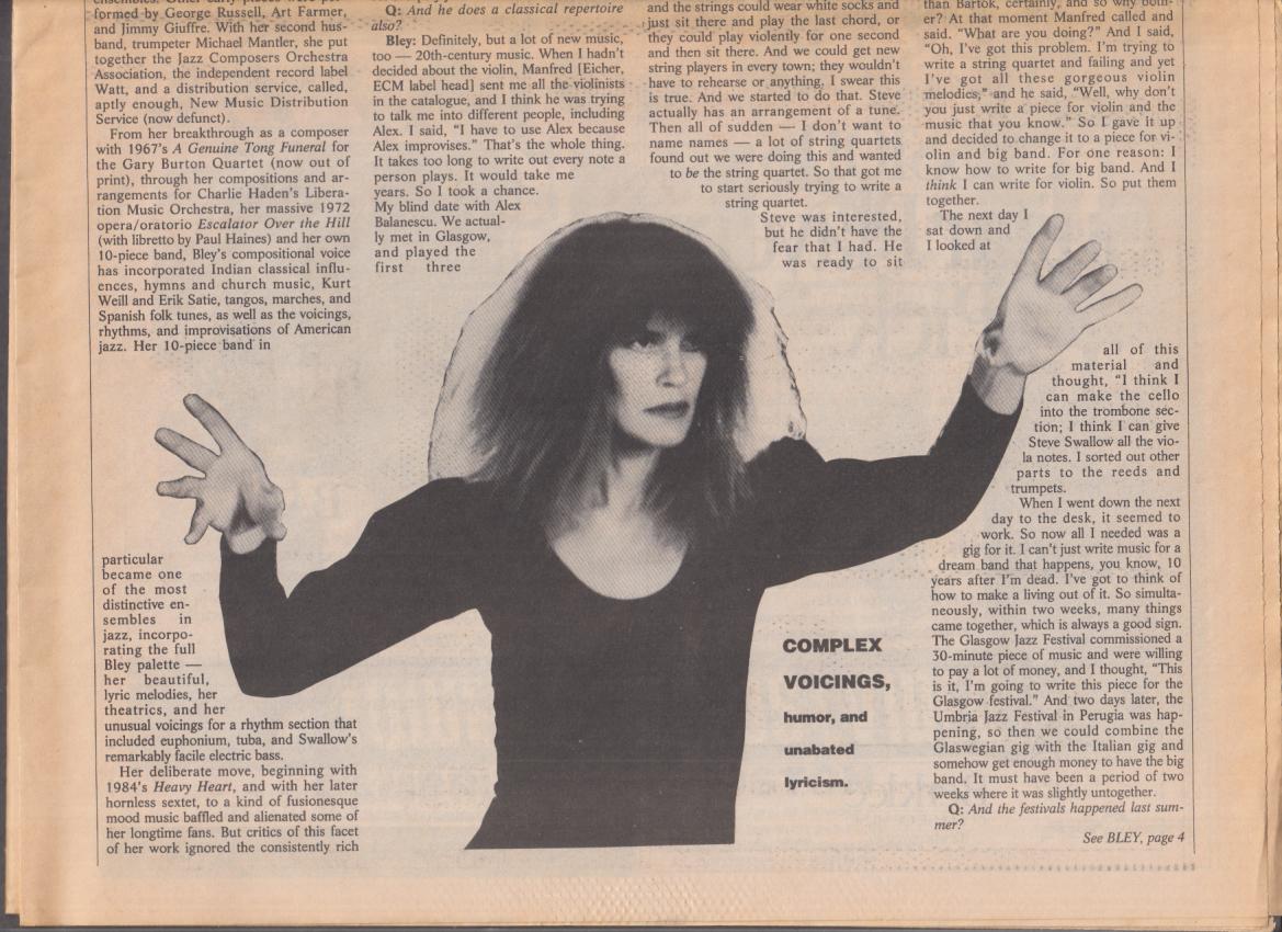 Boston PHOENIX JAZZ supplement 5/28 1992 Carla Bley; new reissues