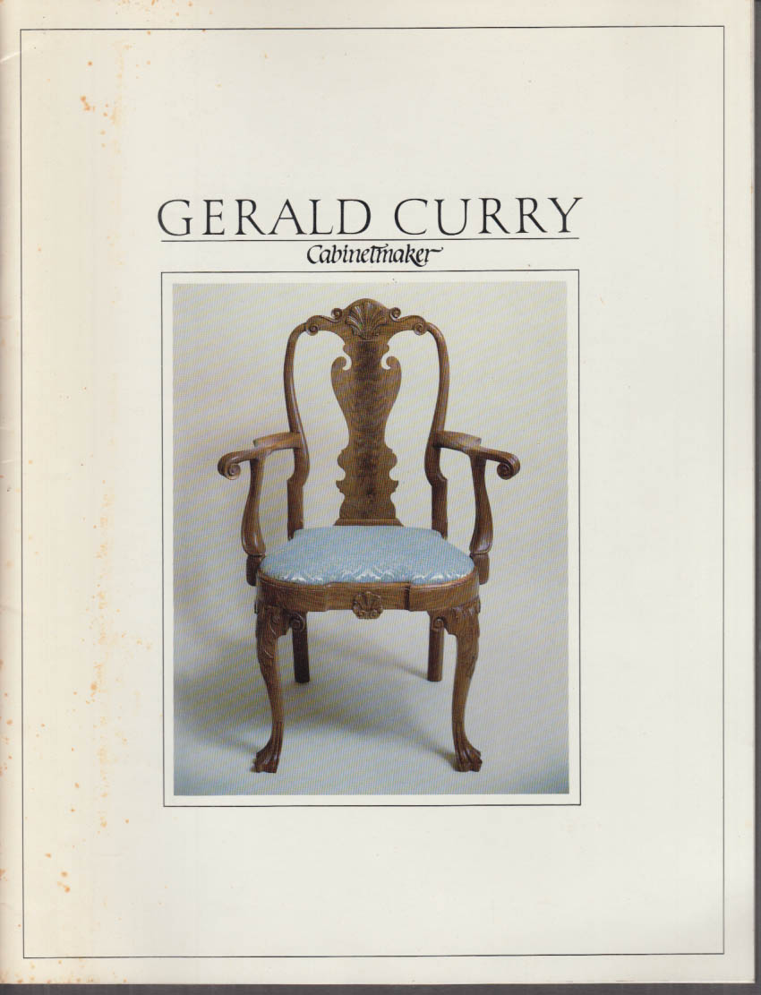 Gerald Curry Cabinetmaker Antique Furniture Recreations Catalog Ca 1980s