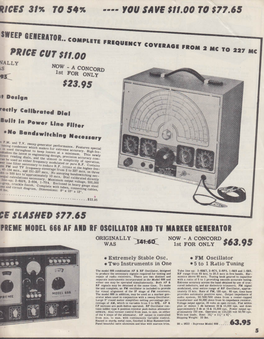 Concord Radio Corporation Electronics Catalog 1950
