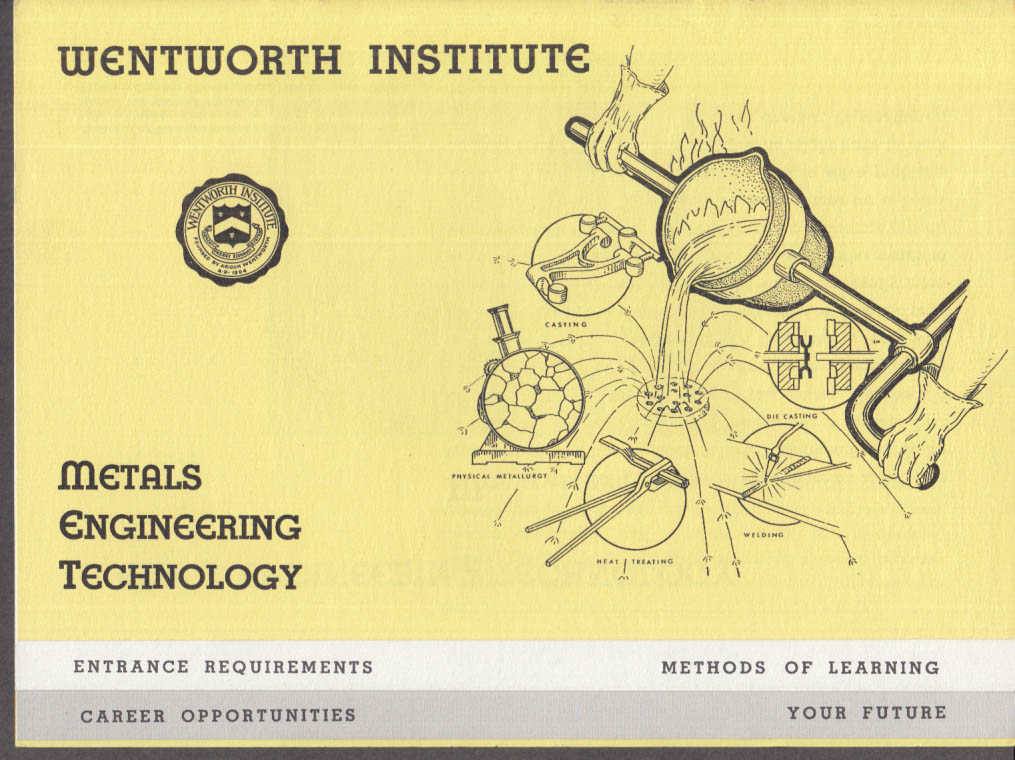 Wentworth Institute Metals Engineering Technology Prospectus 1950s Boston