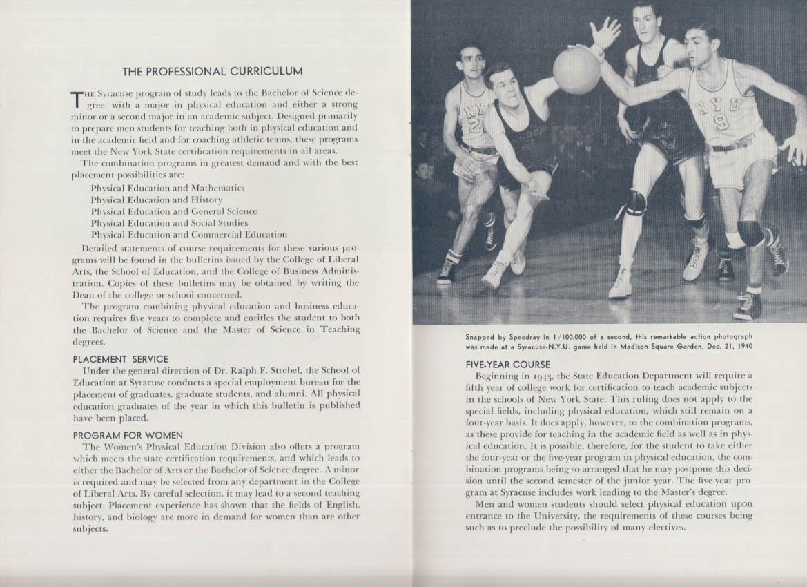 Syracuse University Teacher Training in Physical Education Prospectus 1940s