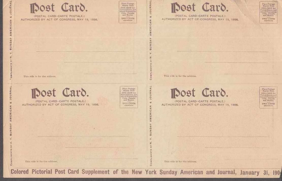 Hearst's New York American & Journal set of postcards 1/31 1904