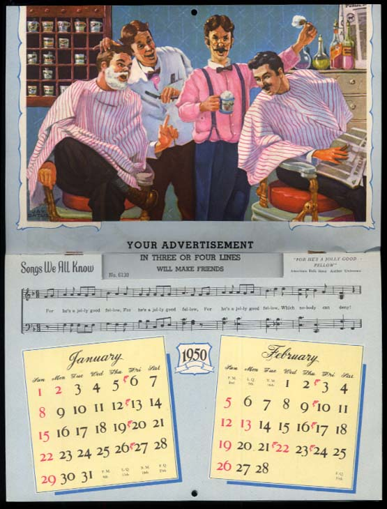 Songs We All Know salesman's sample calendar 1950 barbershop quartet +