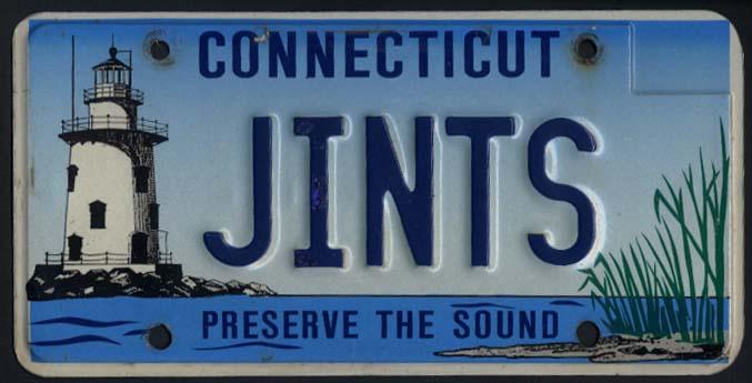Connecticut vanity license plates JINTS New York Giants Preserve the Sound