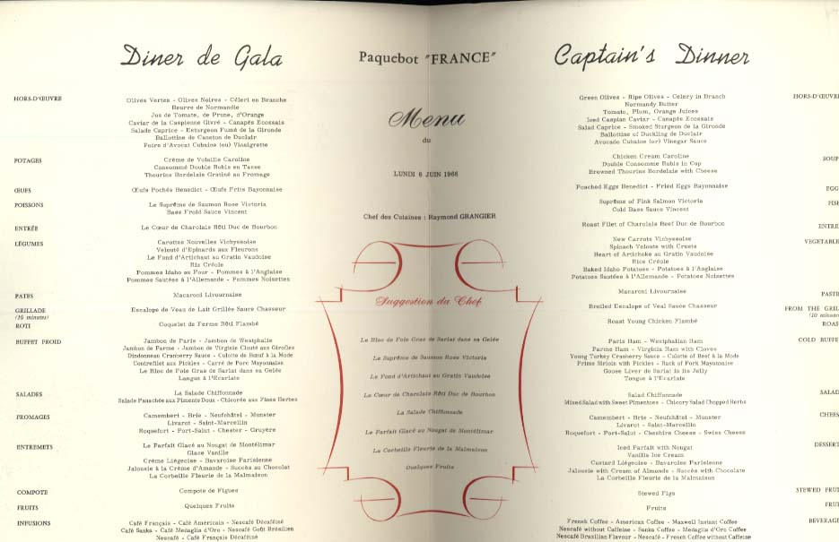French Line S S France 1st Class Captain's Dinner Menu 6/6 1966