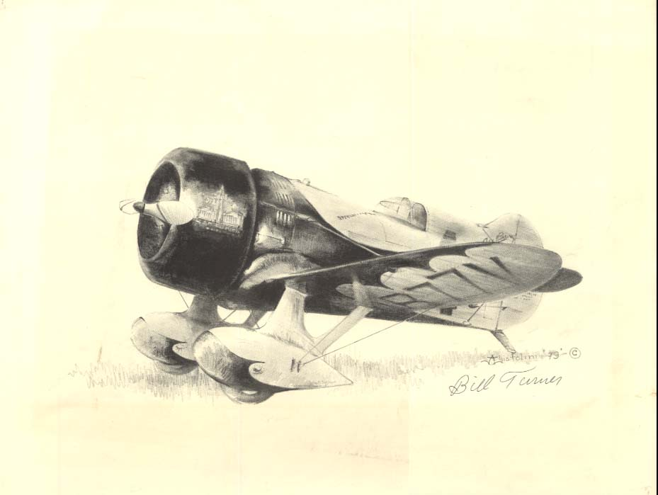 SIGNED Bill Turner print of his replica Gee Bee Model Z 1979