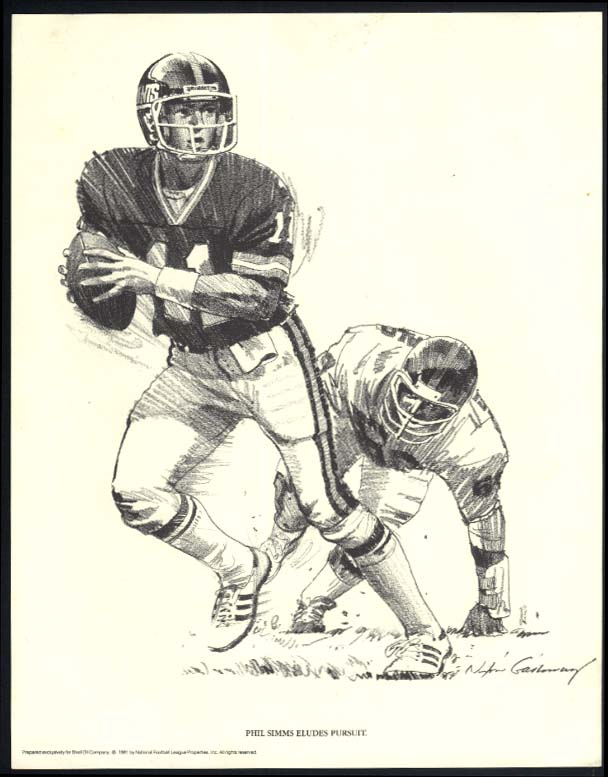 New York Giants Phil Simms eludes pursuit Nixon Galloway print Shell Oil 1981