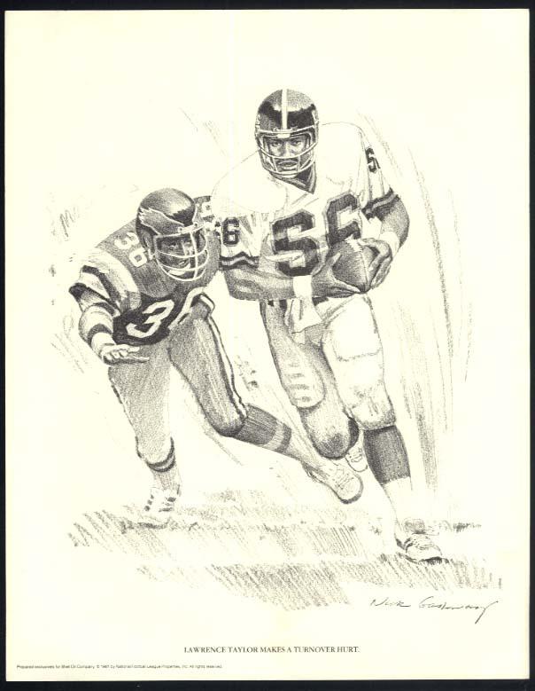 NY Giants Lawrence Taylor makes turnover Nixon Galloway print Shell Oil 1981