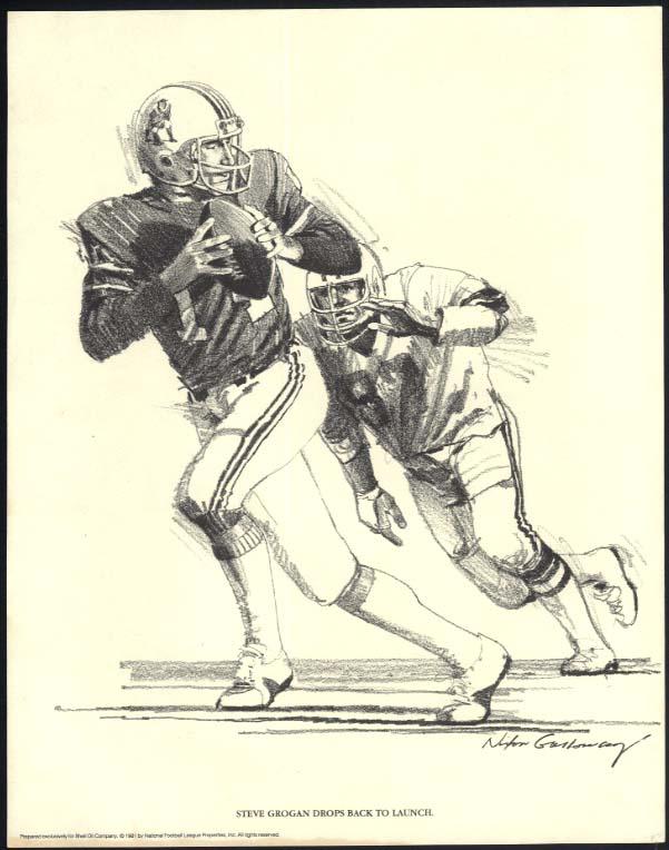 New England Patriots Steve Grogan drops back Shell Oil Nixon Galloway print 1981