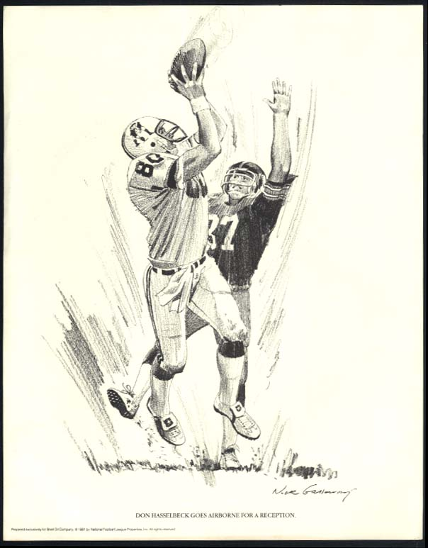 New England Patriots Don Hasselback catches Shell Oil Nixon Galloway print 1981