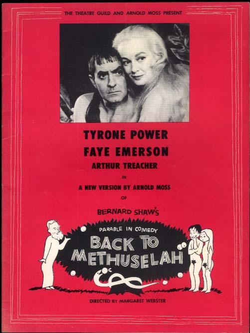 Bernard Shaw's Back to Methuselah program Tyrone Power Faye Emerson 1958