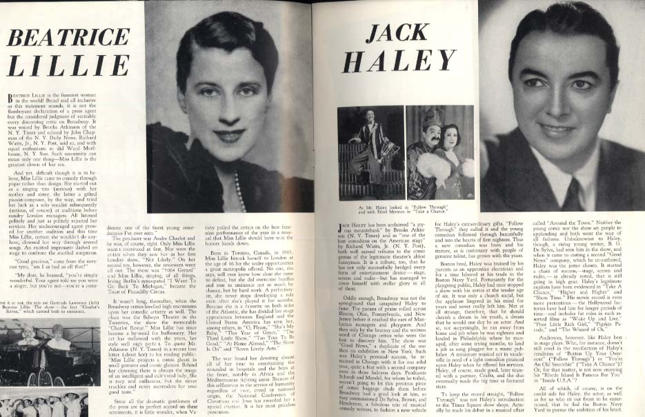 Inside U S A souvenir program Beatrice Lillie Jack Haley 1948-1949