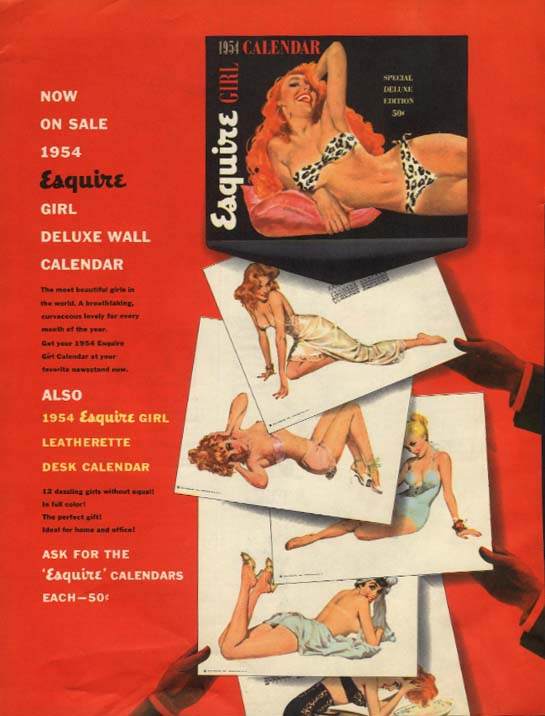 1954 Esquire Calendar ADVERTISEMENT Esquire pin-up page 12 1953