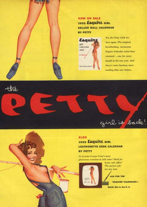 1955 ESQUIRE George Petty Girl Calendar ADVERTISEMENT Esquire pin-up 1954